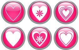 Boutons lustrés avec des coeurs Image stock