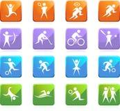 Boutons lustrés carrés sportifs - grand dos Photographie stock libre de droits