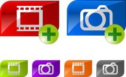 Boutons lustrés de vidéo de photo Photo stock