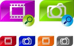 Boutons lustrés de vidéo de photo Photographie stock libre de droits