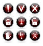 Boutons lustrés noirs et rouges avec la garantie, le risque et les signaux d'avertissement. Image libre de droits