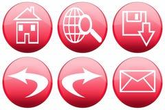 Boutons lustrés rouges de programme de lecture Photos stock