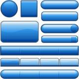 Boutons lustrés bleus de site Web Photographie stock