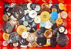 Boutons multicolores en gros plan Photos libres de droits