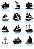 Boutons nautiques de Web - noirs et blancs Images libres de droits