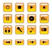 Boutons oranges de contrôle de musique Images libres de droits