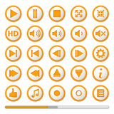 Boutons oranges de Media Player Photos stock