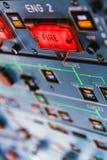 Boutons poussoirs du feu d'Airbus A320 et voyants d'alarme Images libres de droits