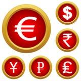 Boutons réglés d'argent Images libres de droits