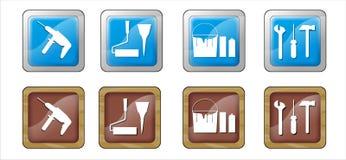 Boutons réglés de construction Image libre de droits