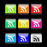 Boutons rectangulaires de RSS Photo libre de droits