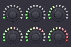 Boutons ronds de bouton de navigation Contrôle du volume illustration stock
