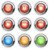 Boutons ronds de reproducteur multimédia illustration stock