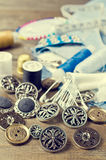 Boutons ronds en métal Photos libres de droits