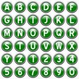 Boutons ronds verts d'alphabet Image libre de droits