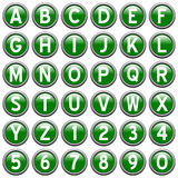 Boutons ronds verts d'alphabet illustration stock