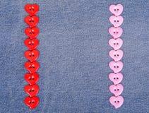 Boutons roses du rouge i sous forme de coeurs Photos stock