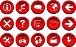 boutons rouges du vecteur 3D Photographie stock libre de droits