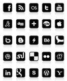 Boutons sociaux 1 de medias Photographie stock
