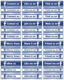 Boutons sociaux assortis de Facebook de medias Photographie stock libre de droits