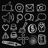 Boutons sociaux d'icônes sur le fond noir Photo libre de droits