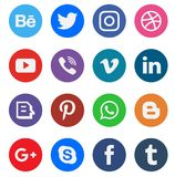 Boutons sociaux de collection d'icône de media Photos libres de droits