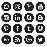 Boutons sociaux de collection d'icône de media image stock