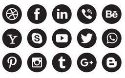 Boutons sociaux de collection d'icône de media Photos stock
