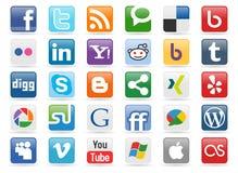 Boutons sociaux de medias Photographie stock