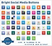 Boutons sociaux lumineux de medias Image stock