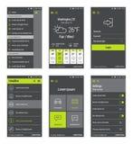 Boutons verts réglés du design de l'interface mobile d'utilisateur Image libre de droits