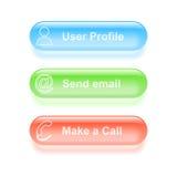 Boutons vitreux de profil d'utilisateur Image libre de droits