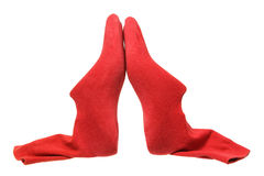 Bouts de chaussure avec les chaussettes rouges Photos libres de droits