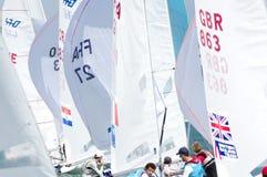 Bouvet & Mion seger ISAF som seglar världscupen Miami i grupp 470 Royaltyfri Bild