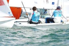 Bouvet & Mion seger ISAF som seglar världscupen Miami i grupp 470 Royaltyfri Foto