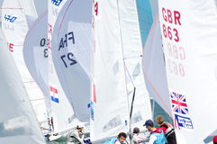 Bouvet & Mion win ISAF Sailing World Cup Miami in 470 class. Miami, USA, February 1, 2014 - Sofian Bouvet and Jeremie Mion won the ISAF Sailing World Cup in Royalty Free Stock Image