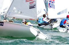 Bouvet & Mion win ISAF Sailing World Cup Miami in 470 class. Miami, USA, February 1, 2014 - Sofian Bouvet and Jeremie Mion won the ISAF Sailing World Cup in Stock Photography