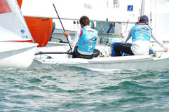 Bouvet & Mion win ISAF Sailing World Cup Miami in 470 class. Miami, USA, February 1, 2014 - Sofian Bouvet and Jeremie Mion won the ISAF Sailing World Cup in Royalty Free Stock Photo