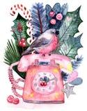 Bouvreuil de carte de voeux d'aquarelle illustration de vecteur
