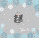 Bouvreuil drôle d'oiseaux sur le fond d'hiver illustration stock