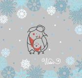 Bouvreuil drôle d'oiseaux sur le fond d'hiver illustration de vecteur