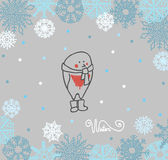 Bouvreuil drôle d'oiseaux sur le fond d'hiver illustration libre de droits