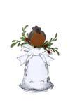 Bouvreuil sur une cloche en verre Images stock
