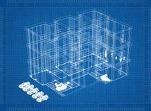 Bouw 3D blauwdruk stock illustratie