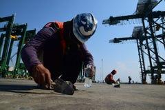 Bouw de nieuwe haven van Tanjung Priok Stock Afbeeldingen