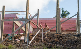 Bouw die van houten overlapping, Nieuw Zeeland inbouwen Stock Foto