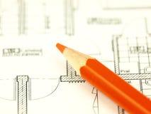 Bouw een huis en architectenhulpmiddelen Stock Afbeelding