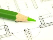 Bouw een huis en architectenhulpmiddelen Stock Foto's