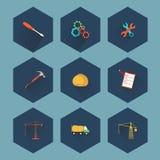 Bouw en de reeks van het onroerende goederenpictogram, vector Stock Foto