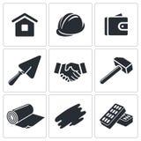 Bouw en het pictograminzameling van de huisreparatie Royalty-vrije Stock Foto